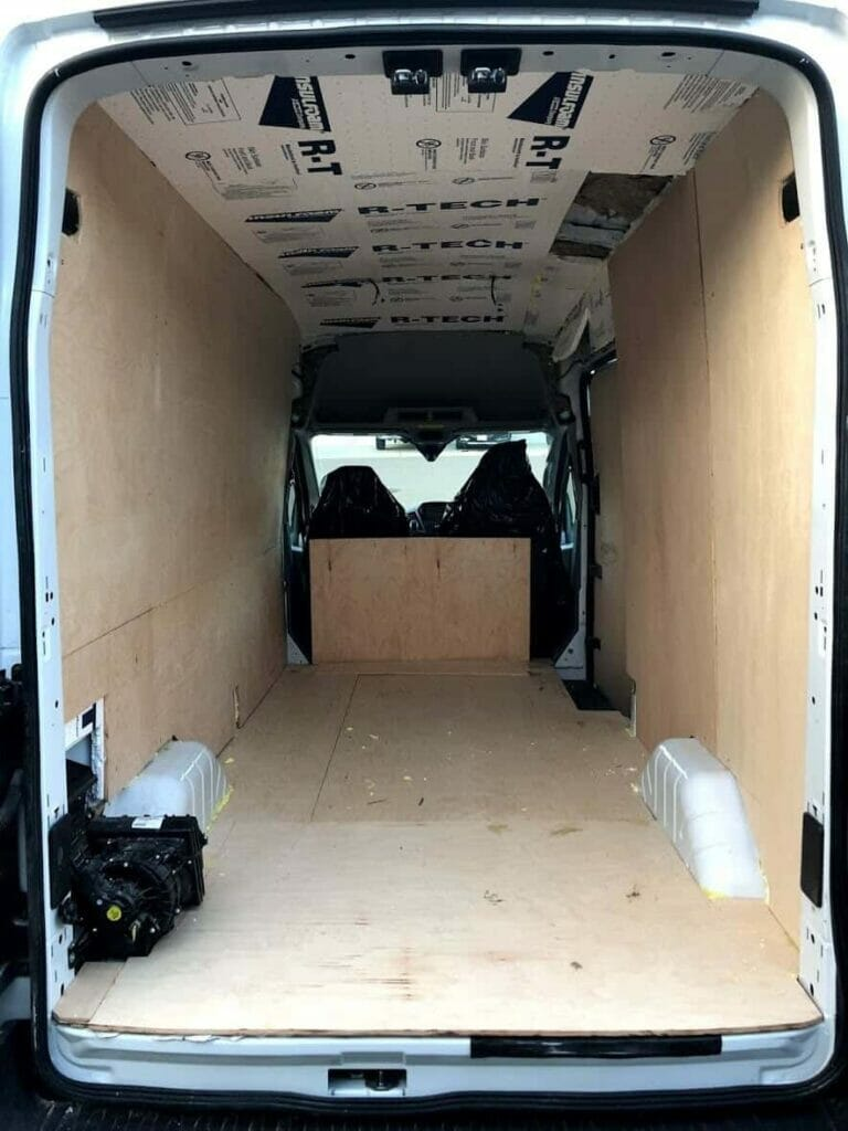 vanlife plywood van walls wood cabin