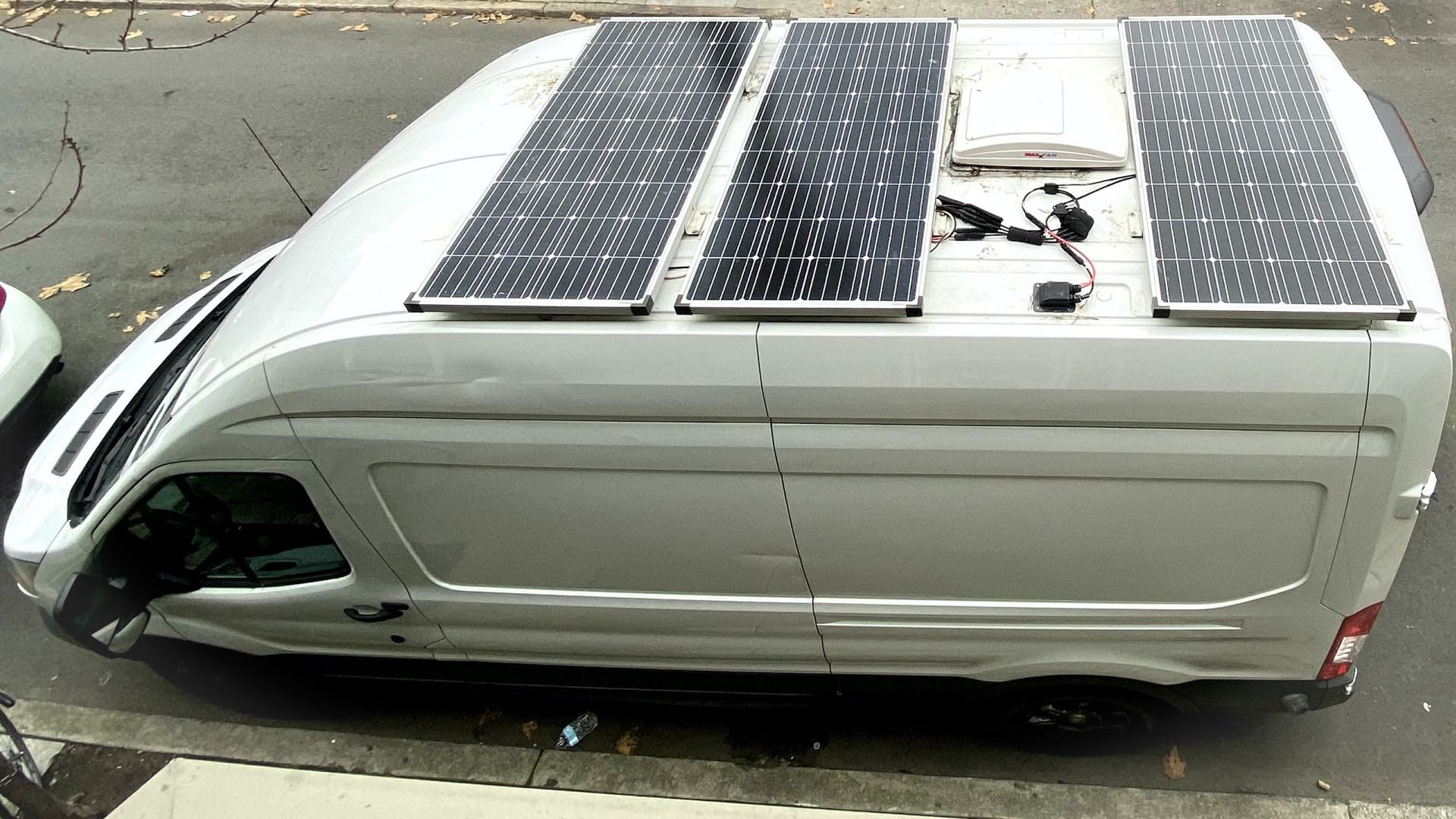 van with solar panels on the roof