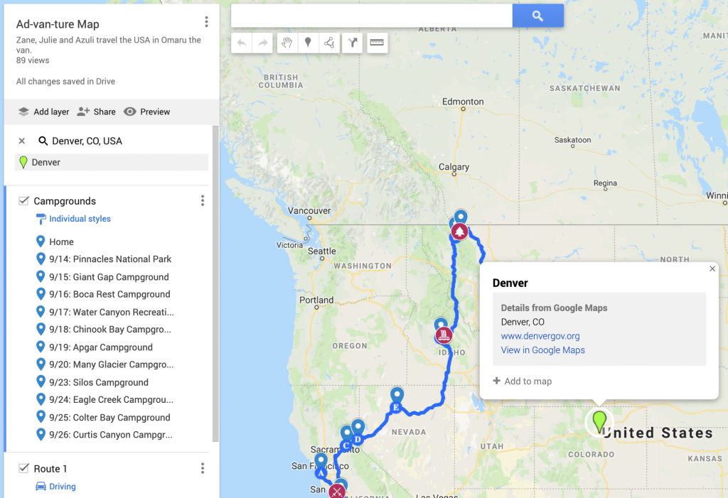 creating a free road trip map with google maps