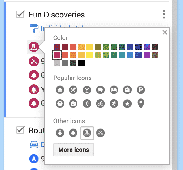 customizing the color and icon on a google road trip map