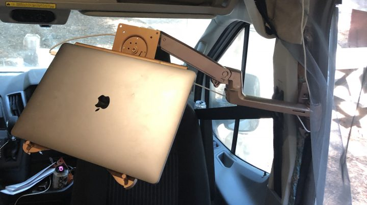 laptop computer monitor arm in a van mobile office