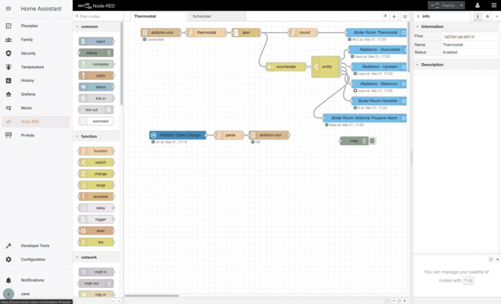 node red in kubernetes docker home assistant panel