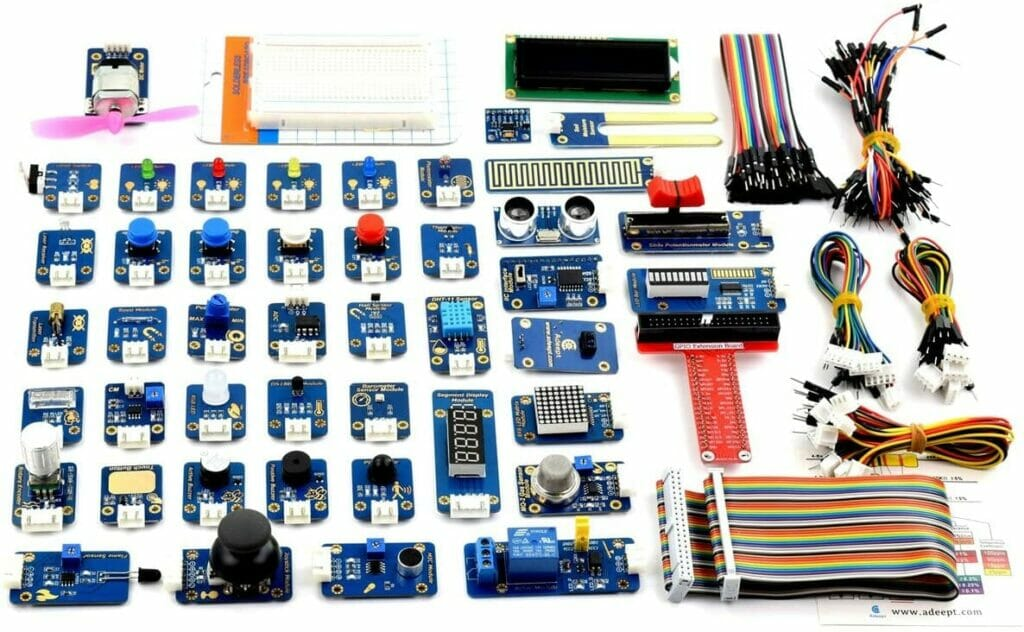 An assortment of Raspberry Pi sensors.