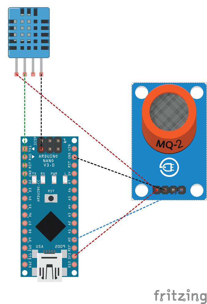 Fritzing diagram for Raspberry Pi arduino sensors
