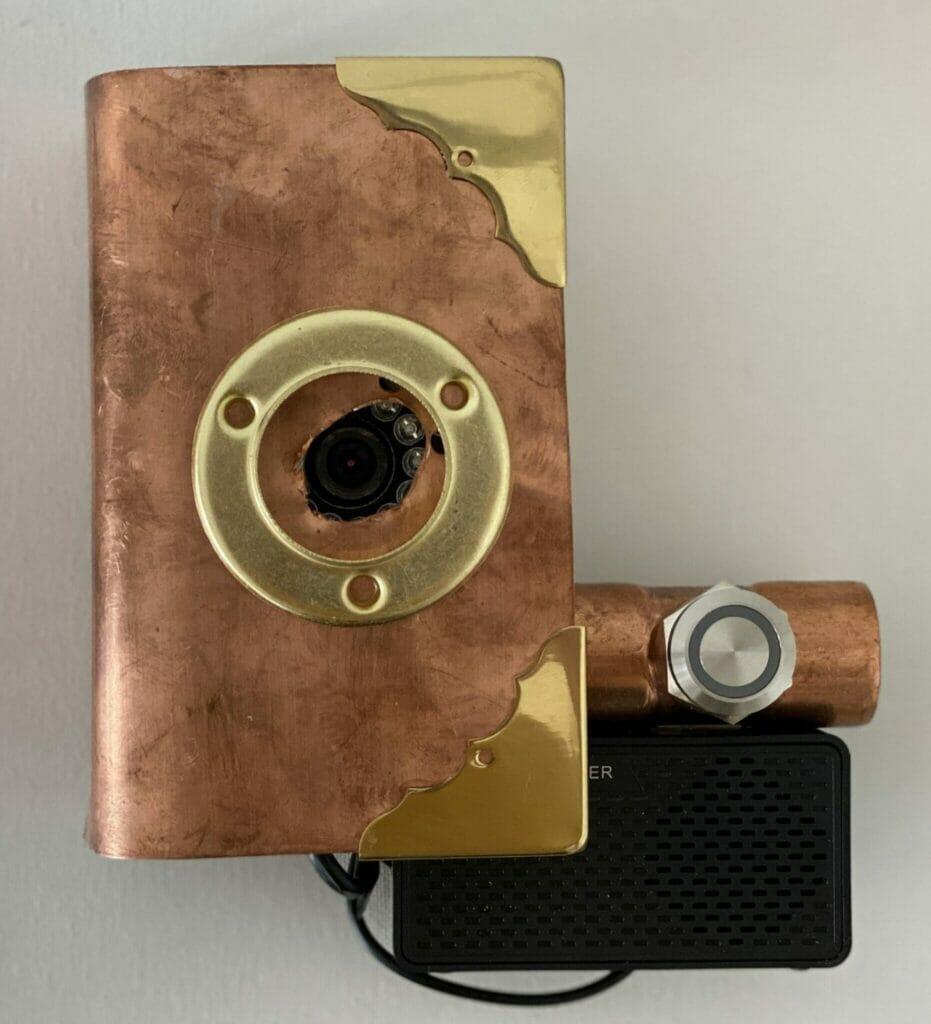 steampunk themed raspberry pi doorbell assembled