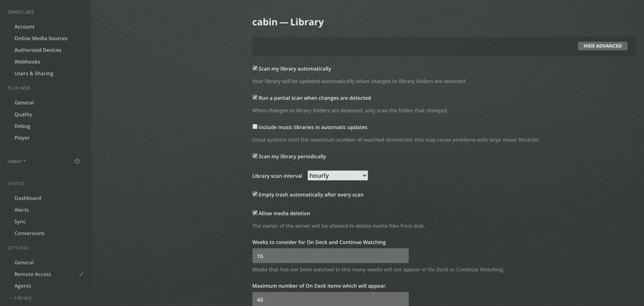 freenas plex library auto-scan config