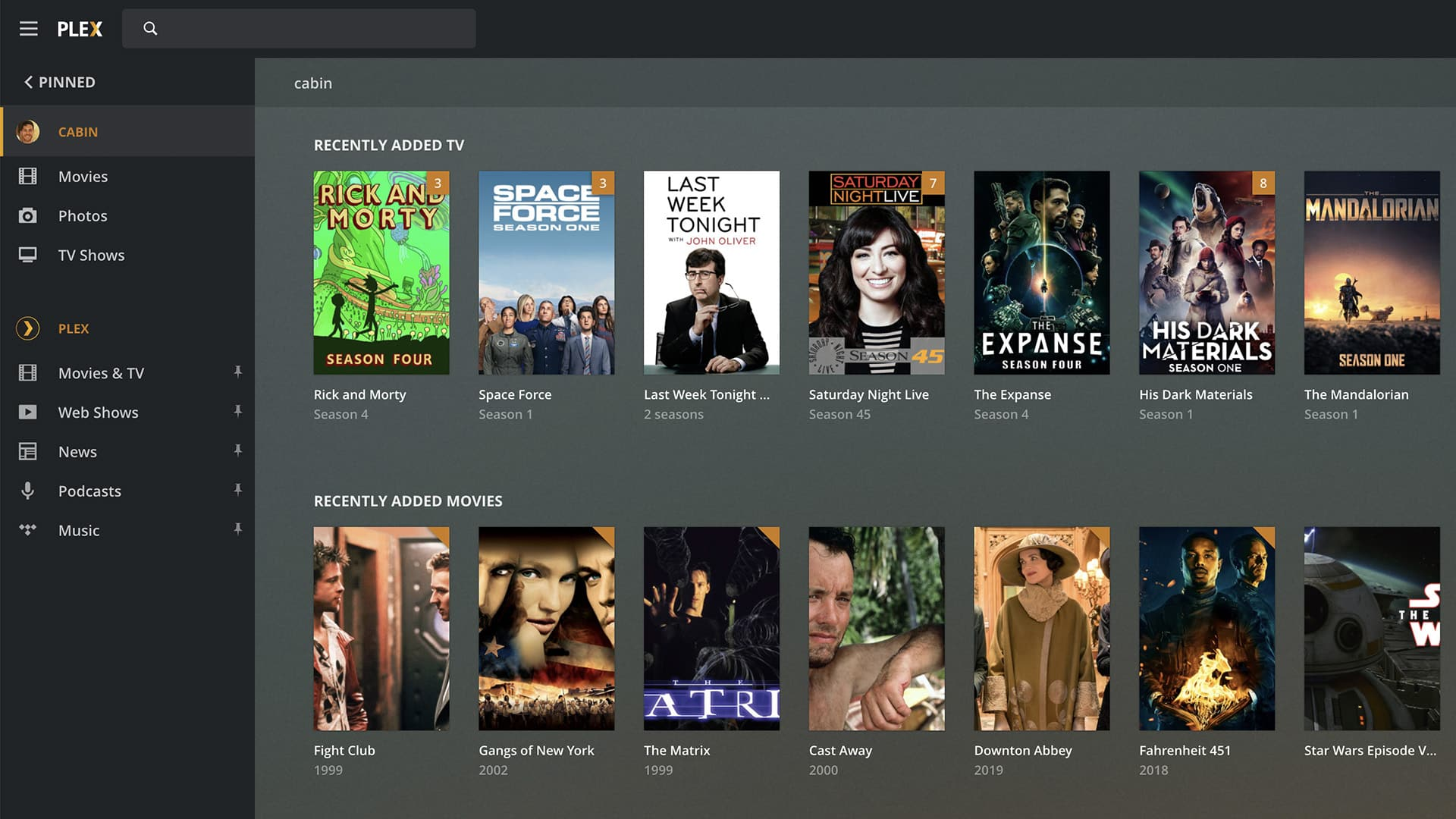 FreeNAS Plex UI for browsing movies and tvs downloaded at night