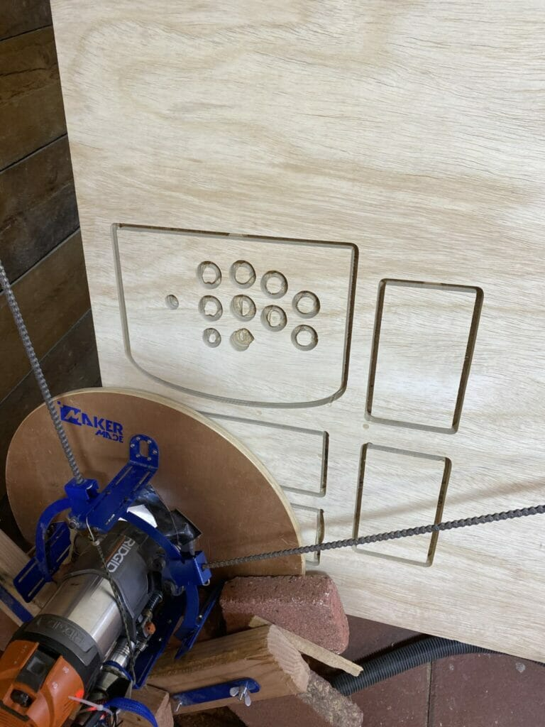 maslow CNC router in the edges of material