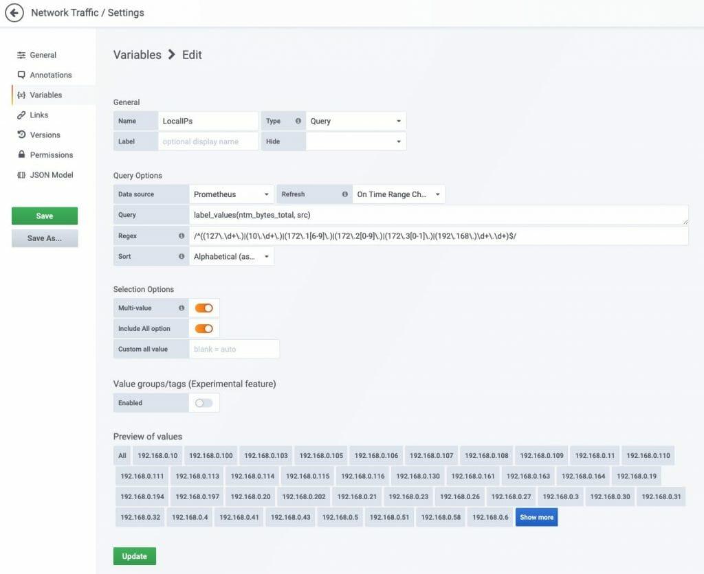 Editing grafana dashboard network traffic filters.