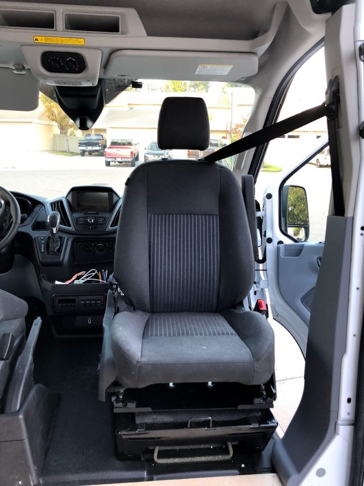 a swivel passenger seat in a ford transit van